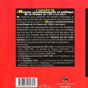 Essentiel De L'Histoire Constitutionnelle Et Politique De La France (L') - 4ème de couverture - Format classique