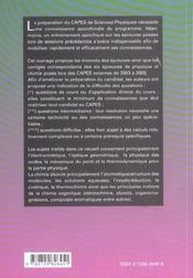 Problemes Corriges Poses Au Capes De Sciences Physiques Physique Chimie - 4ème de couverture - Format classique