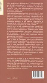Simenon avant simenon - 4ème de couverture - Format classique