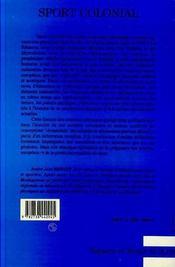 Sport Colonial - 4ème de couverture - Format classique