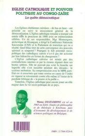 Eglise Catholique Et Pouvoir Politique Au Congo-Zaire ; La Quete Democratique - 4ème de couverture - Format classique