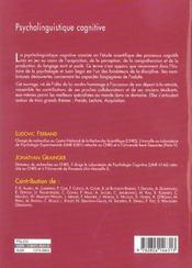 Psycholinguistique Cognitive - 4ème de couverture - Format classique