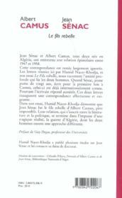 Albert camus, jean senac ou le fils moderne - 4ème de couverture - Format classique
