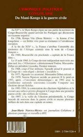 Chronique Politique Congolaise ; Du Mani-Congo A La Guerre Civile - 4ème de couverture - Format classique