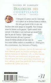 Dialogue Des Courtisanes - 4ème de couverture - Format classique