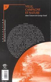 Ville, Campagne Et Nature Dans L'Oeuvre De George Sand - 4ème de couverture - Format classique