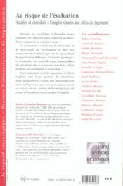 Au Risque De L'Evaluation - 4ème de couverture - Format classique