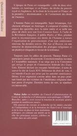 Thomas paine, un intellectuel d'une revolution a l'autre, 1737-1809 - 4ème de couverture - Format classique