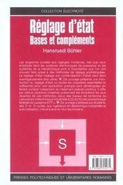 Reglage D'Etat. Bases Et Complements - 4ème de couverture - Format classique