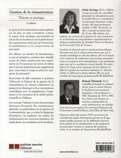 Gestion de la rémunération ( 2e édition ) - 4ème de couverture - Format classique