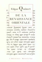 De la renaissance orientale - Couverture - Format classique