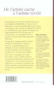 De L'Artiste Cache A L'Artiste Revele - 4ème de couverture - Format classique