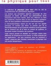 Les Paris De La Thermodynamique - 4ème de couverture - Format classique