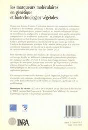 Les Marqueurs Moleculaires En Genetique Et Biotechnologies Vegetales - 4ème de couverture - Format classique