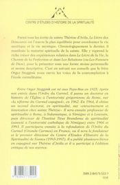 Introduction au château intérieur de sainte thérèse d'avila - 4ème de couverture - Format classique
