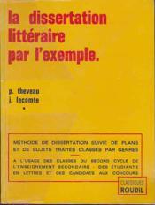 Dissertation Litteraire Par L'Exemple - Couverture - Format classique