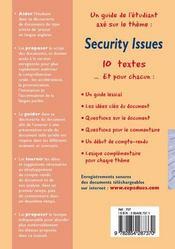 Prépa à l'oral d'anglais ; security issues - 4ème de couverture - Format classique