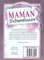 Lettre Maman Extraordinaire - 4ème de couverture - Format classique