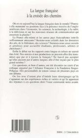 La Langue Francaise A La Croisee Des Chemins - 4ème de couverture - Format classique
