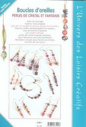 Boucles d'oreilles ; perles de cristal et fantaisie - 4ème de couverture - Format classique