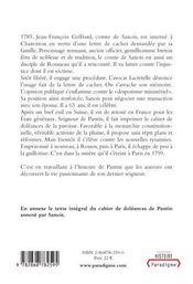 Le comte de sanois, 1723-1799 ; une vie bouleversée par l'affaire de la lettre de cachet - 4ème de couverture - Format classique