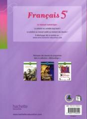 Français ; 5ème ; livre de l'élève (édition 2010) - 4ème de couverture - Format classique
