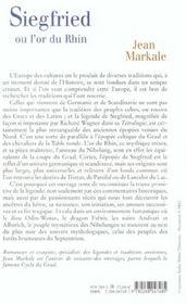 Siegfried Ou L Or Du Rhin - 4ème de couverture - Format classique