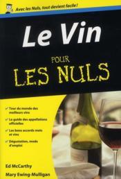 Le vin pour les nuls - Couverture - Format classique