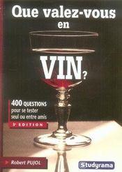 Que valez-vous en vin ? - Intérieur - Format classique