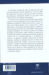 Lire Les <I>Odes</I> De Ronsard - 4ème de couverture - Format classique