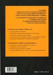 Prep'Allemand Maitriser L'Emploi Des Prepositions Methode Et Exercices - 4ème de couverture - Format classique