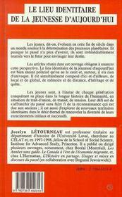 Le Lieu Identitaire De La Jeunesse D'Aujourd'Hui - 4ème de couverture - Format classique