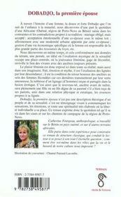 Dobadjo La Premiere Epouse - 4ème de couverture - Format classique