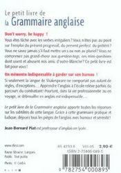 Le Petit Livre De - La Grammaire Anglaise - 4ème de couverture - Format classique