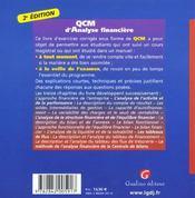 Qcm d'analyse financiere - 4ème de couverture - Format classique