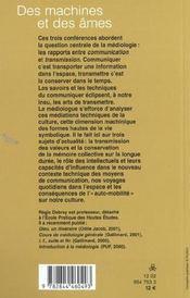 Des Machines Et Des Ames - 4ème de couverture - Format classique