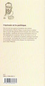Charles Peguy L'Ecrivain Et Le Politique - 4ème de couverture - Format classique