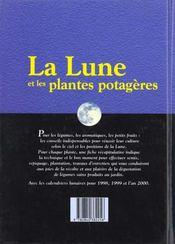 La Lune Et Les Plantes Potageres - 4ème de couverture - Format classique
