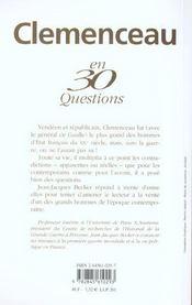 Clemenceau en 30 questions - 4ème de couverture - Format classique