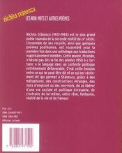 Les non-mots et autres poèmes - 4ème de couverture - Format classique