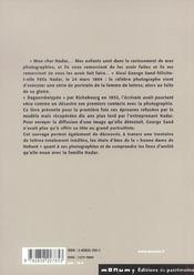 George Sand Et Felix Nadar - 4ème de couverture - Format classique