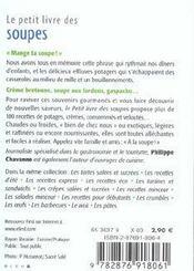 Le Petit Livre De Cuisine ; Des Soupes - 4ème de couverture - Format classique