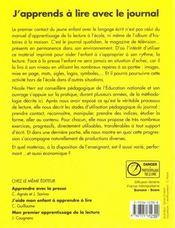 Apprends Lire Avec Le Journal - 4ème de couverture - Format classique