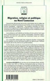 Migration, religion et politique au nord Cameroun - 4ème de couverture - Format classique
