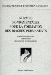Congregation pour l'education catholique - normes fondamentales pour la formation des diacres - Couverture - Format classique