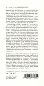 Cendres d'Amazonie - 4ème de couverture - Format classique