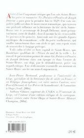 Vie. Poesies Et Pensees De Joseph Delorme - 4ème de couverture - Format classique