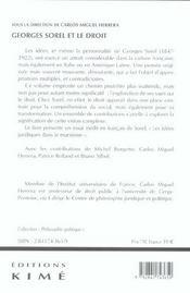Georges Sorel Et Le Droit - 4ème de couverture - Format classique