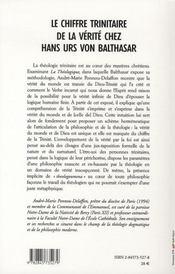 Le chiffre trinitaire de la vérité chez hans urs von balthasar - 4ème de couverture - Format classique
