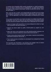 Guide Pratique Pour Creer Une Societe Civile Immobiliere - 4ème de couverture - Format classique